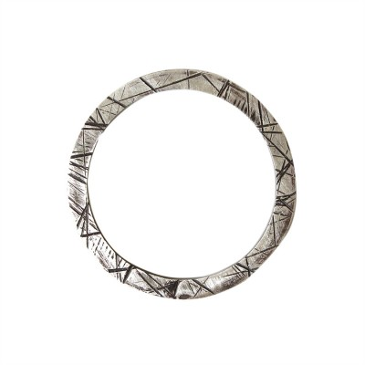 Metal ring silver oxidised