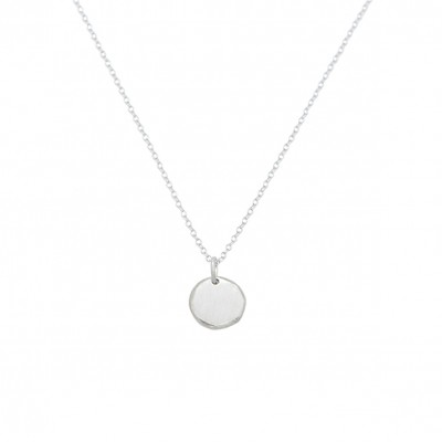 Polygon disc necklace silver