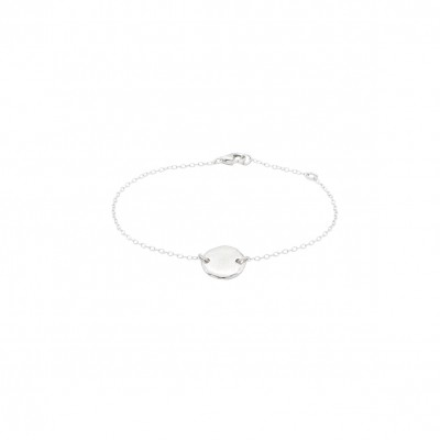 Polygon disc bracelet silver